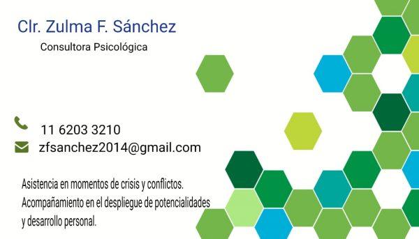 Zulma Sanchez – Consultora Psicológica