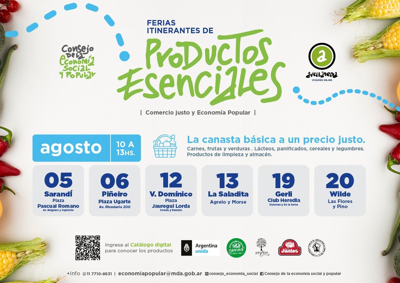 📆AGOSTO- FERIAS ITINERANTES DE PRODUCTOS ESENCIALES